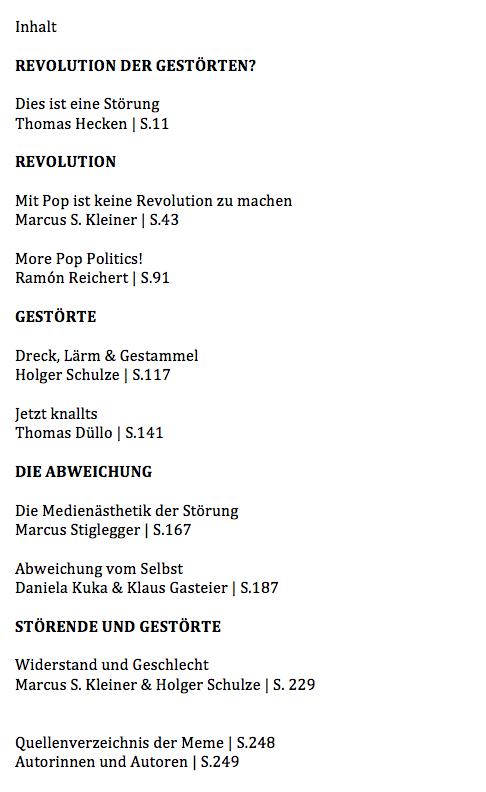 Inhalt - Sabotage! Pop als die Internationale Dysfunktionale, Bielefeld.