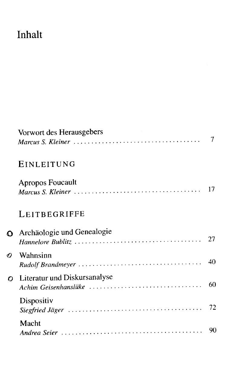Inhaltsverzeichnis Foucault