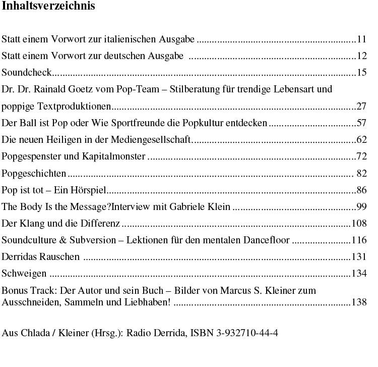 Inhaltsverzeichnis radio Derrida