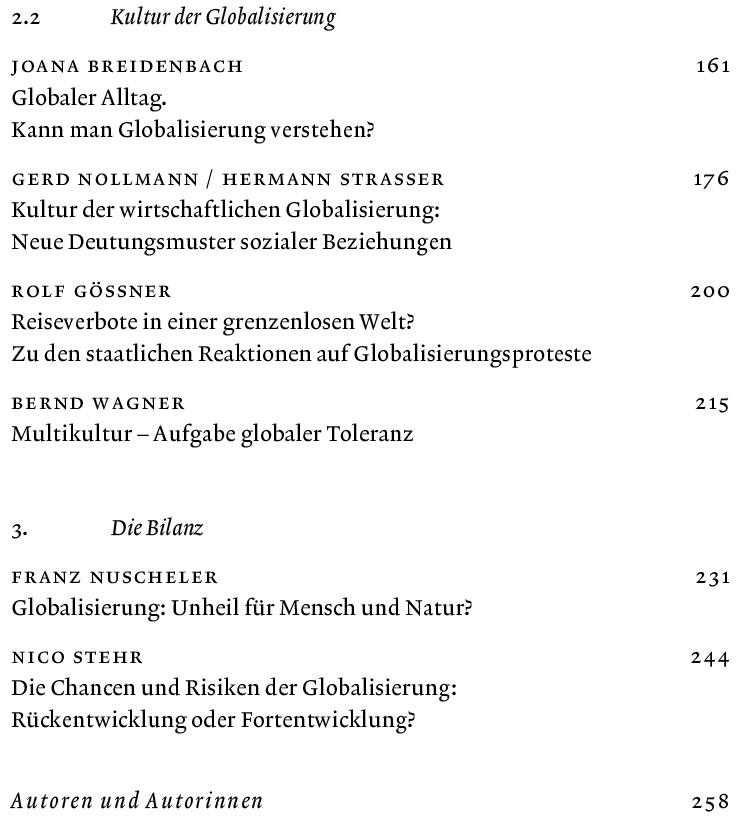 Inhaltsverzeichnis Globalisierungswelten