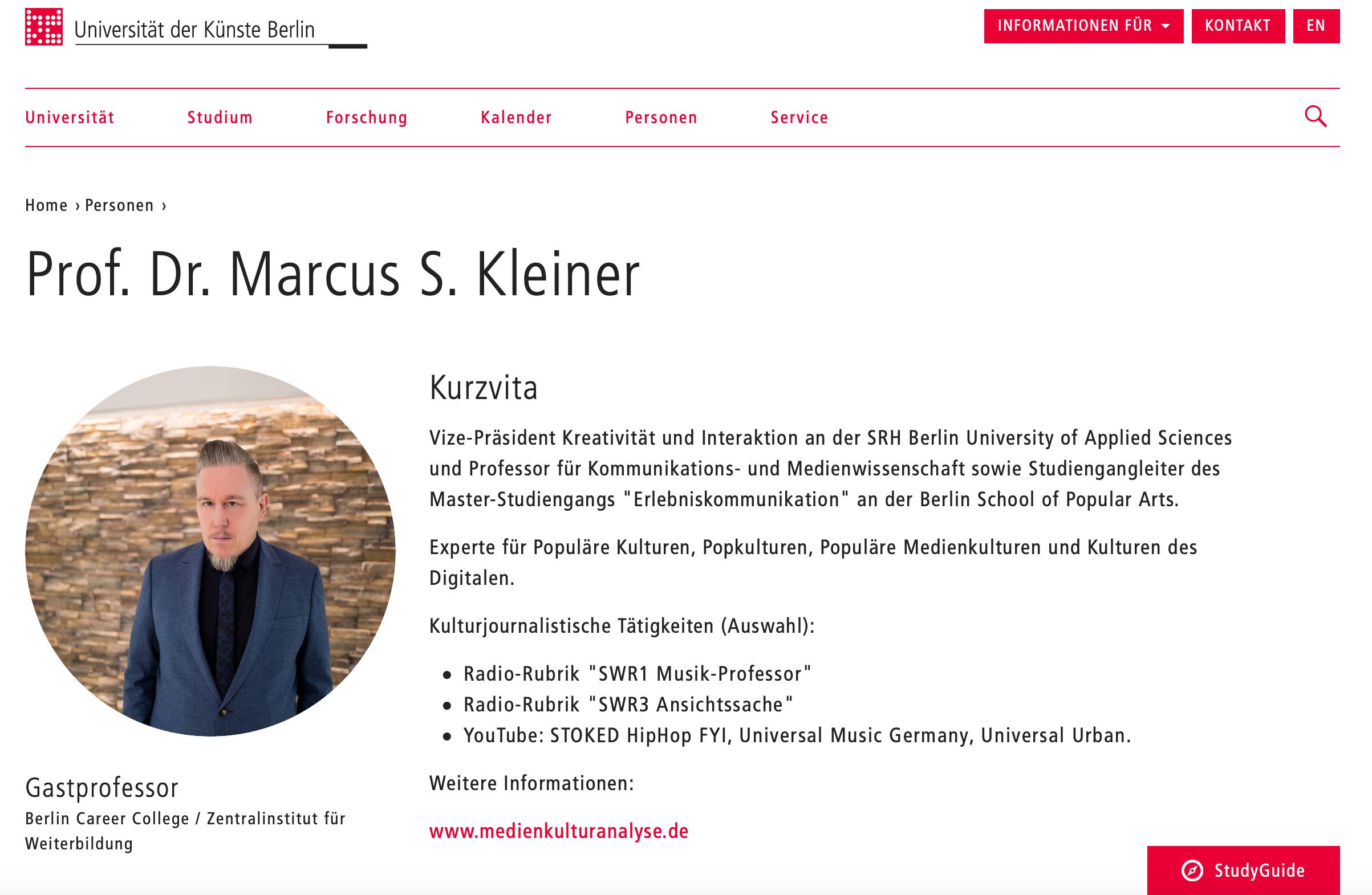 Gastprofessur UdK Marcus S. Kleiner