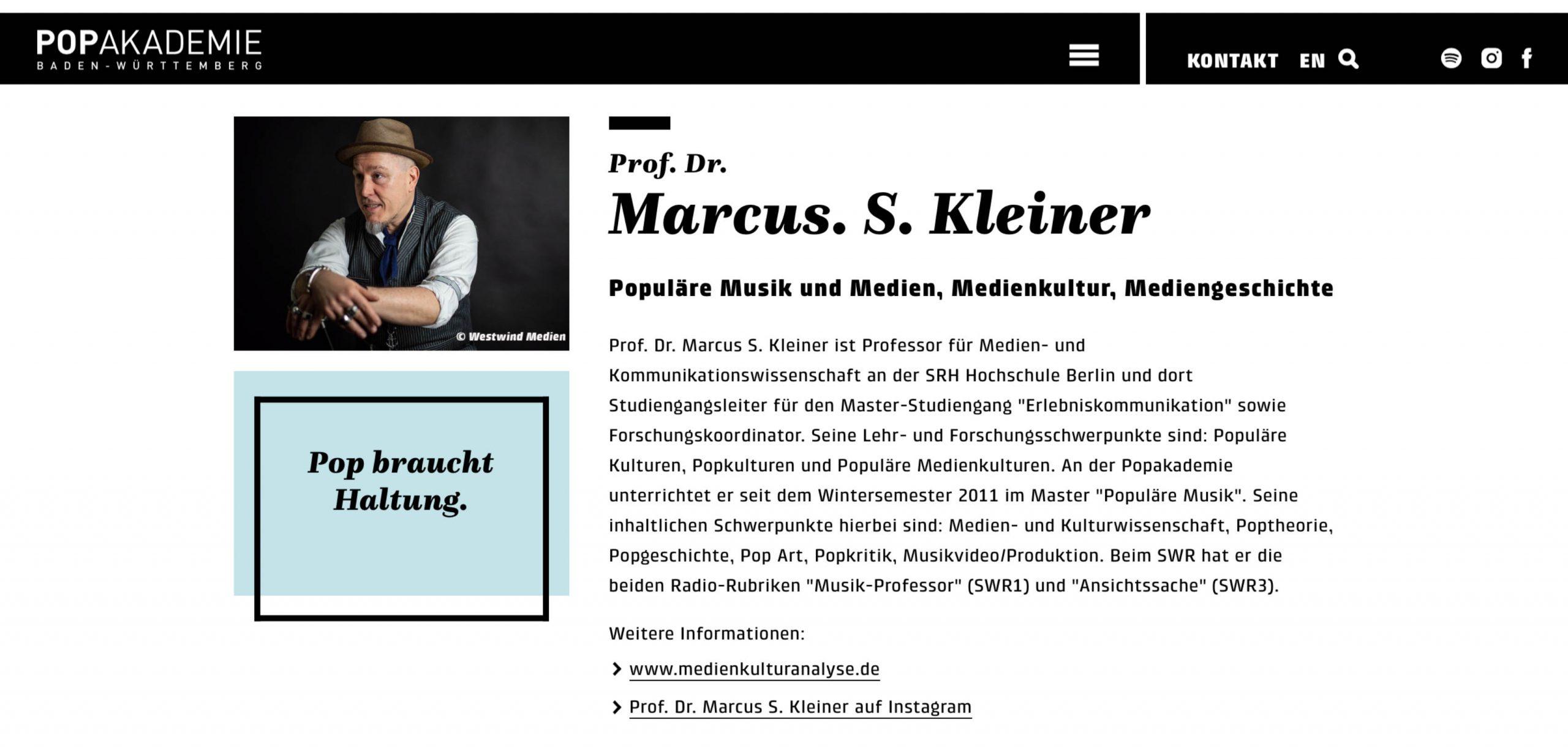 Marcus S. Kleiner Popakademie Mannheim