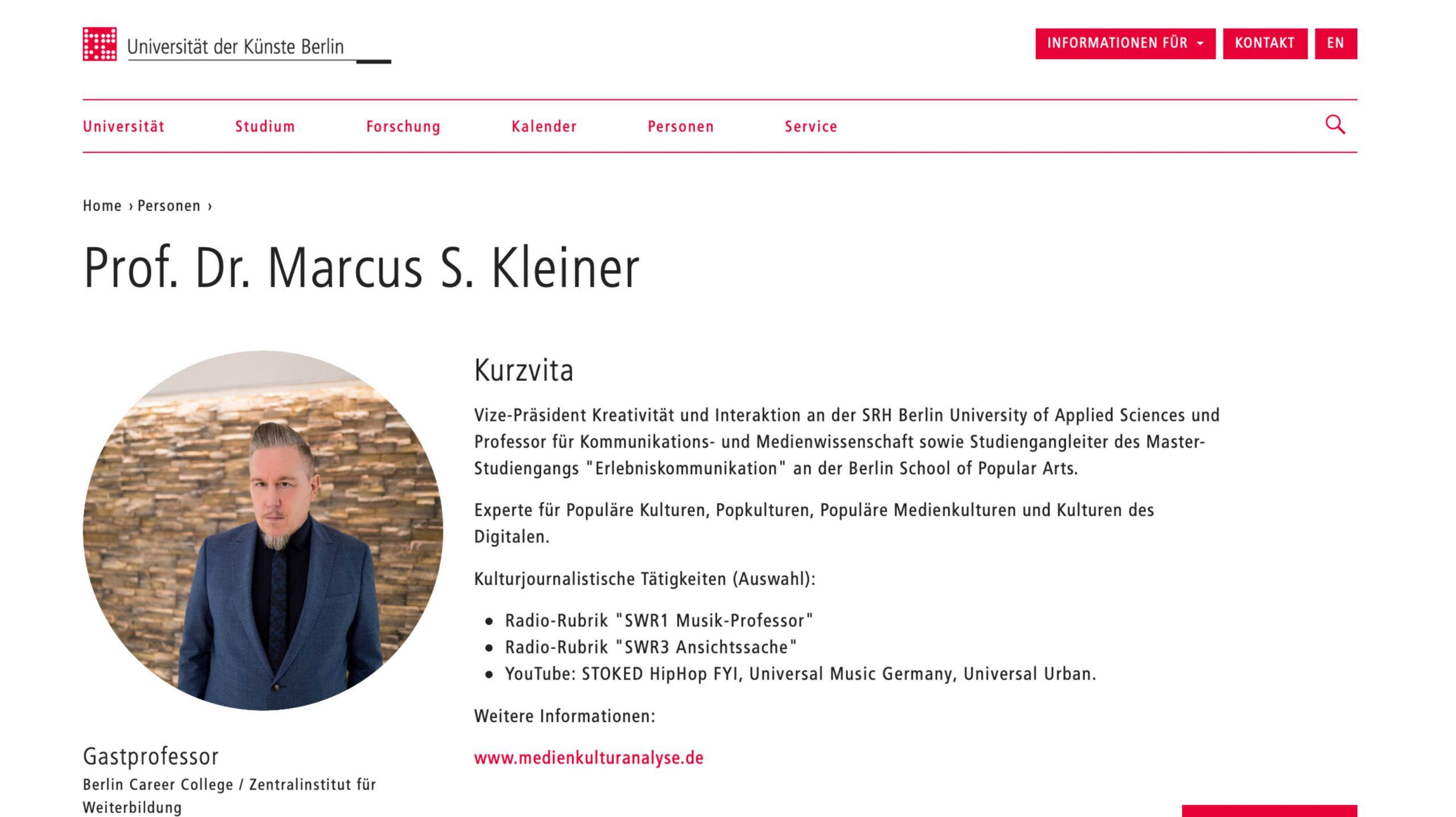 Marcus S. Kleiner Universität der Künste Berlin