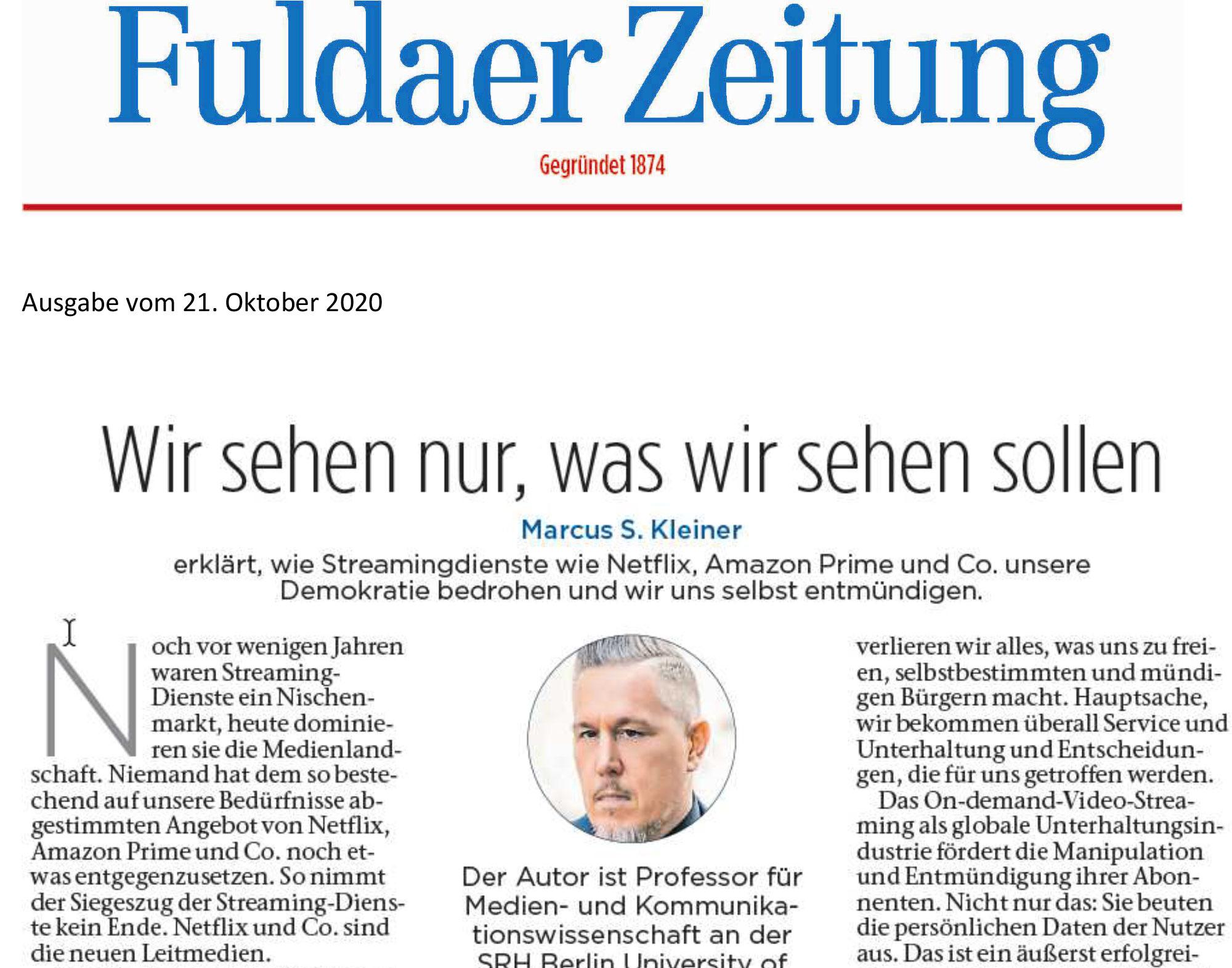 Fuldaer Zeitung Marcus S. Kleiner Streamland